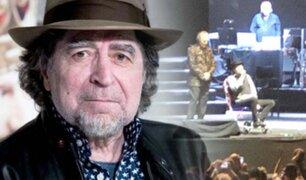 Joaquín Sabina se cae del escenario en concierto con Joan Manuel Serrat