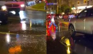Otro aniego volvió a desatarse en las principales calles de Miraflores