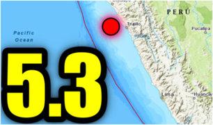 Reportan sismo de magnitud 5.3 en La Libertad