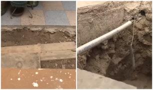 La Perla: obras inconclusas de Sedapal perjudican a vecinos que conviven con forados llenos de roedores