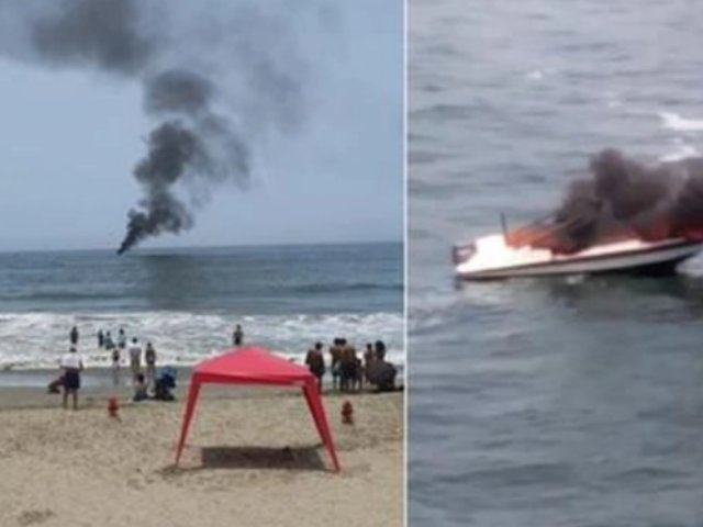 Santa María del Mar: yate se incendia en la playa y deja un herido con quemaduras en el rostro