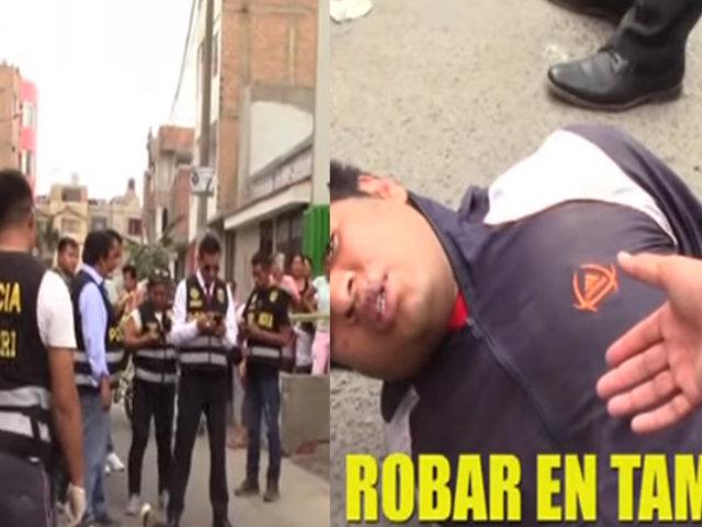 Agentes policiales frustraron robo a local de Tambo en Los Olivos