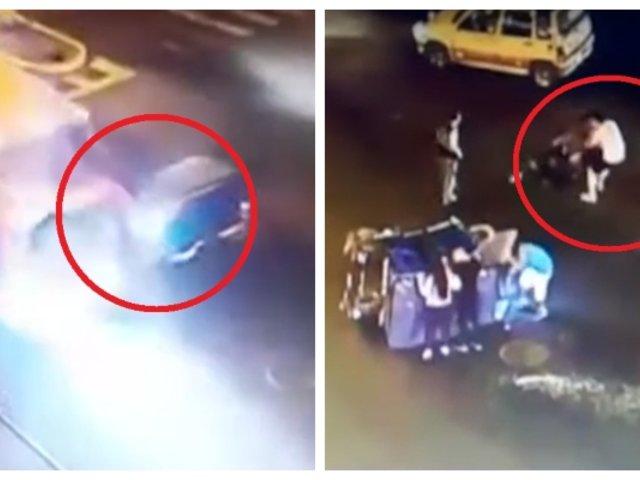 Pasajero golpea a mototaxista que chocó con bus interprovincial