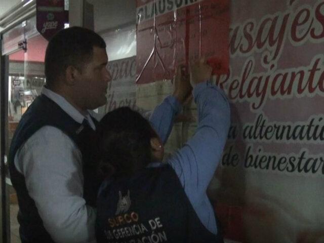 Surco: clausuran local donde ofrecían masajes sexuales por 80 soles