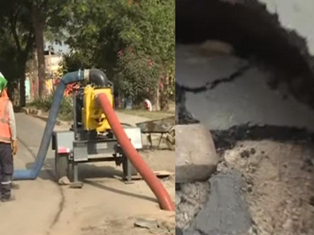 Pistas de SJL se hunden y vecinos temen colapso de tuberías e inundaciones