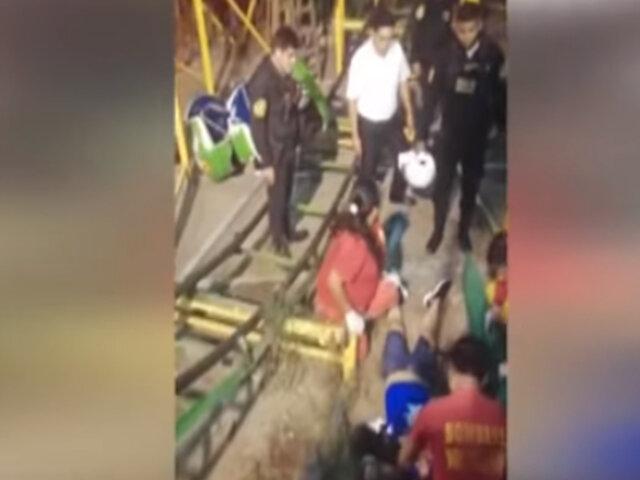 Comas: Niño y joven salen disparados del Gusanito tras descarrilarse en centro de juegos