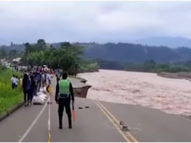 Huánuco: crecida del río Tulumayo afectó carretera Belaúnde Terry