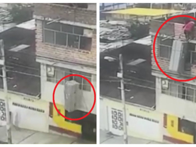 Huaraz: ponen en riesgo a transeúntes al subir refrigeradora a tercer piso