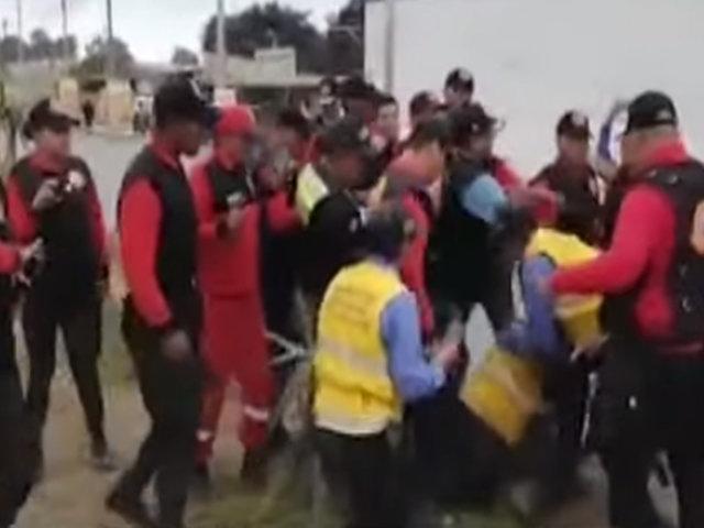 Trabajadores municipales de Pachacámac y Lurín protagonizaron violenta pelea
