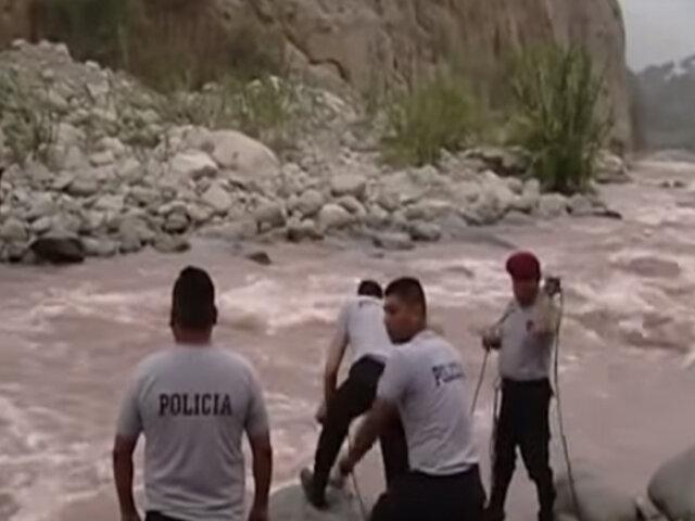 Huarochirí: maquinista quedó atrapado en islote de río por más de 18 horas