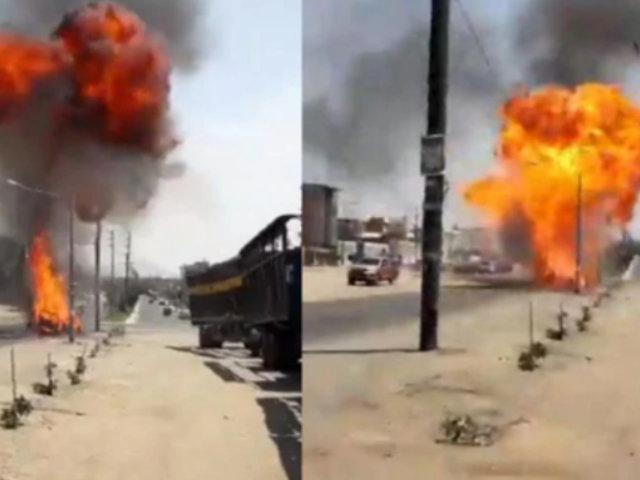 Chimbote: familia salva de morir calcinada tras explosión de camioneta