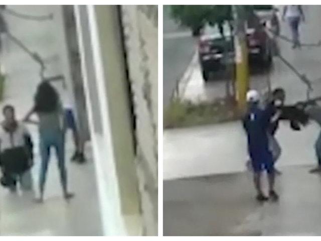 El Agustino: sujeto pide perdón de rodillas a expareja y luego la golpea