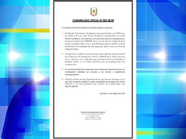 """Ica: suboficial del Ejército integraría banda """"Los Injertos del Sur chico"""""""