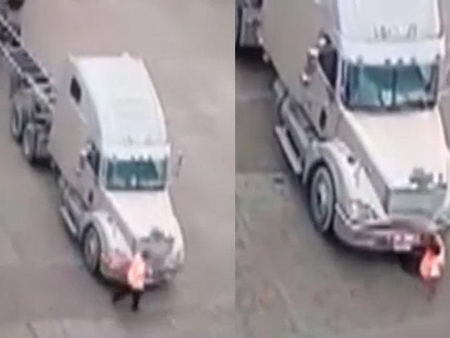 Callao: trabajador se salva de morir tras ser atropellado por tráiler sin conductor