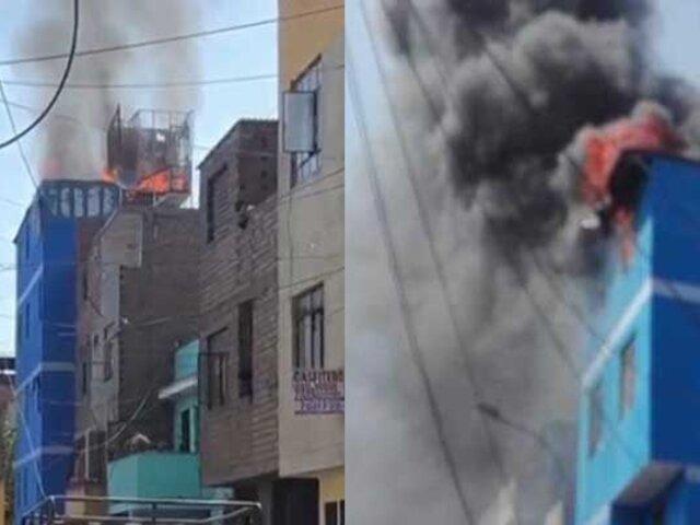 El Agustino: reportan incendio en el quinto piso de una vivienda