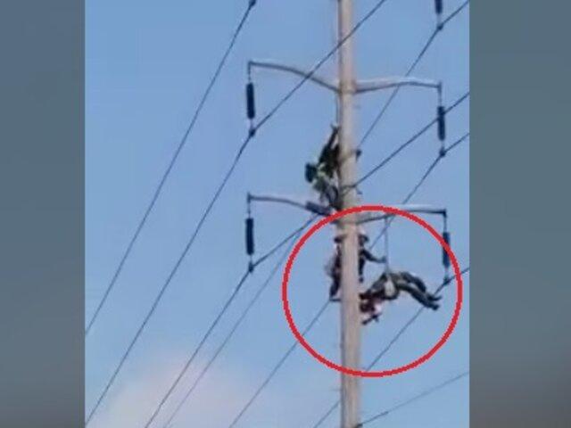 Callao: trabajador queda colgado de poste de alta tensión tras sufrir descarga eléctrica