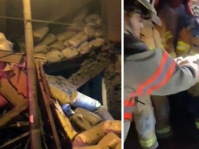El dramático rescate de una madre y su hijo que quedaron atrapados tras derrumbe de su casa