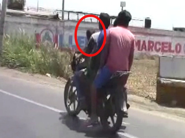 Trujillo: niño y tres hombres viajan en moto lineal por la Panamericana Norte