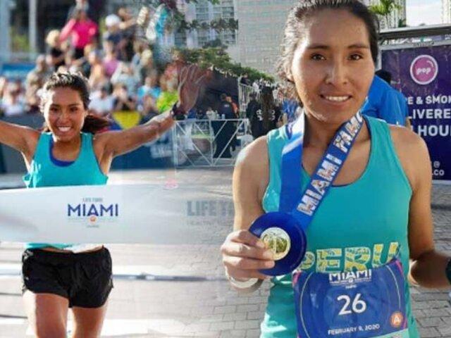 Aydee Loayza debutó en maratón 42K en Miami y ganó primer puesto