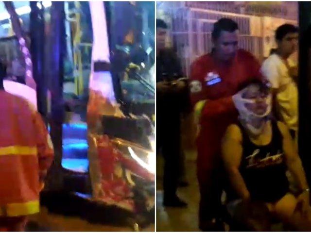 Avenida Brasil: mujer queda herida tras accidente vehicular entre auto y bus La Roma