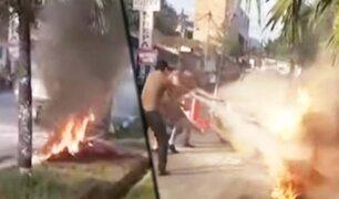 Tarapoto: camioneta con equipo de fumigación para dengue terminó envuelta en llamas