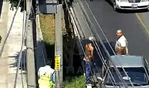Surco: taxista cerró paso a ladrón y logró que serenos lo intervengan