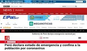 Prensa extranjera informa sobre estado de emergencia y cierre de fronteras en Perú
