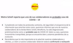 Miraflores: supermercado Metro reporta posible contagio de COVID-19 de uno de sus empleados