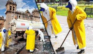 Cusco: desinfectan la Plaza Mayor para evitar propagación del coronavirus