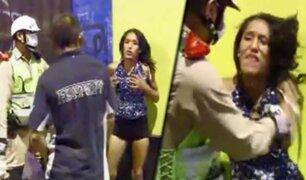 Cercado de Lima: mujer en aparente estado de ebriedad se resistió a intervención policial
