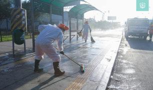 San Borja y El Agustino limpiaron y desinfectaron sus calles para frenar propagación del COVID-19