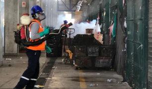 Coronavirus: fumigan 11 pabellones del Gran Mercado Mayorista de Lima