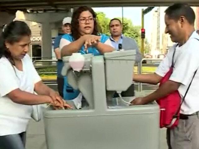 Coronavirus en Perú: instalan lavaderos portátiles de manos en San Borja