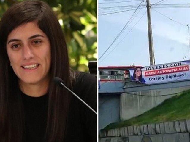 Ministra Alva descarta haber autorizado uso de su nombre en pancartas