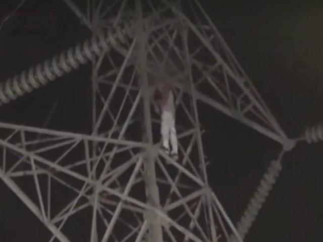 Los Olivos: rescatan a menor que amenazó con lanzarse de torre de alta tensión