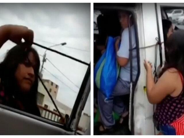 Trujillo: cobradora amarra puerta de combi con una cuerda