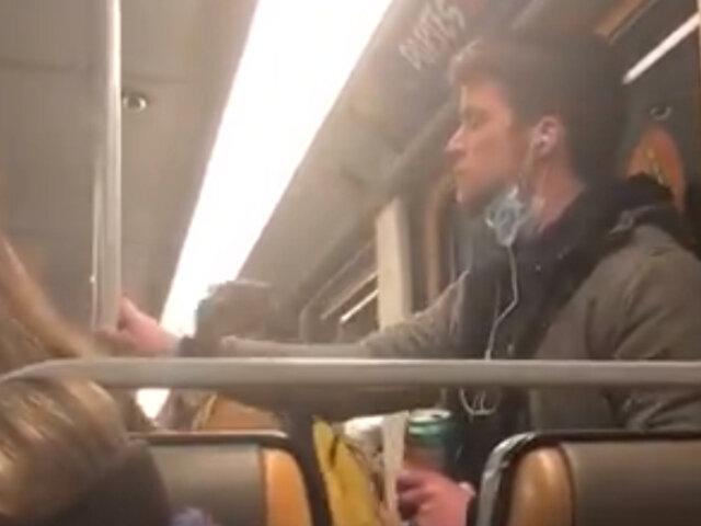 Coronavirus en Bélgica: arrestan a joven tras lamerse los dedos y limpiarse en poste del tren