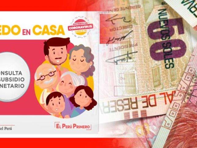 Estado de emergencia: desde hoy se paga bono de S/ 380 soles a personas vulnerables