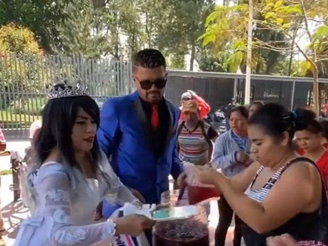 Covid-19: tras suspender boda novios reparten banquete en hospital