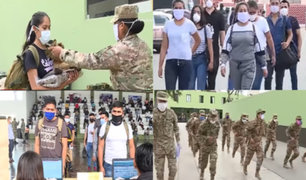 Reservistas llegan a escuela militar de Chorrillos