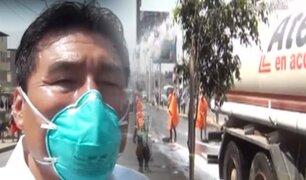 Serenos de Ate dispersan a irresponsables de calles con chorros de agua