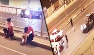 Rímac: policía traslada a pareja de venezolanos con síntomas de COVID-19 a hospital