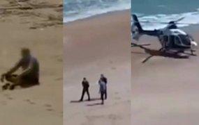 España: helicóptero de la policía aterrizó en la playa para detener a un hombre