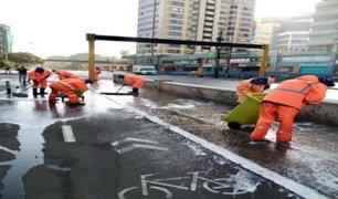 Miraflores limpió y desinfectó ciclovía para promover uso de bicicletas y hacer respetar el distanciamiento