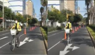Miraflores comenzó periodo de pruebas de vías segregadas para bicicletas