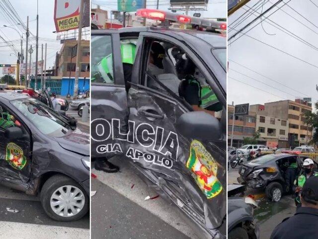 La Victoria: al menos tres heridos tras aparatoso choque de patrulleros de la PNP