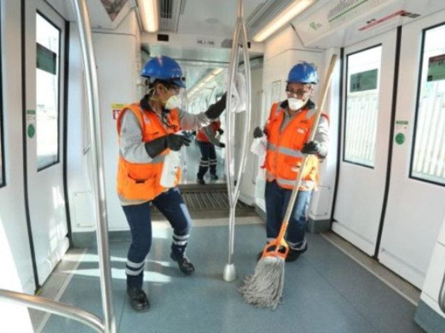 Metro de Lima: limpian y desinfectan vagones de la Línea 1