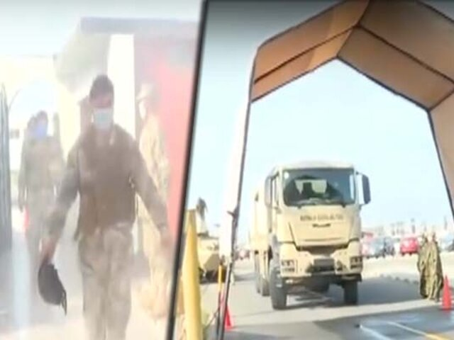 Infantería de la Marina de Guerra fabrica arcos desinfectantes para efectivos y sus vehículos