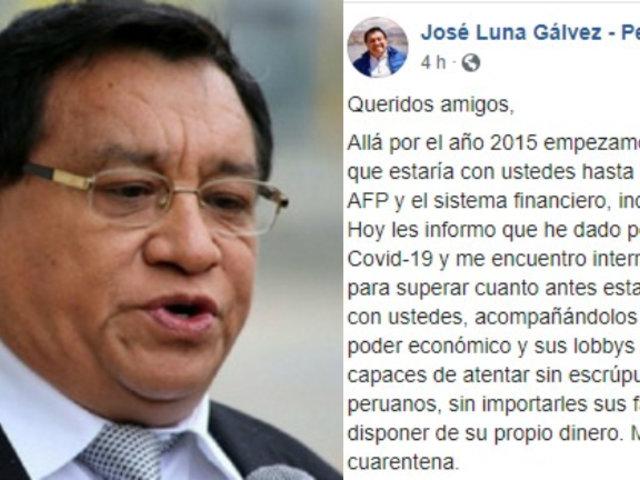 José Luna Gálvez: fundador de Podemos Perú dio positivo al coronavirus