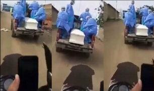 Tumbes: padre fallece de COVID-19 e hijo persigue su ataúd para darle último adiós